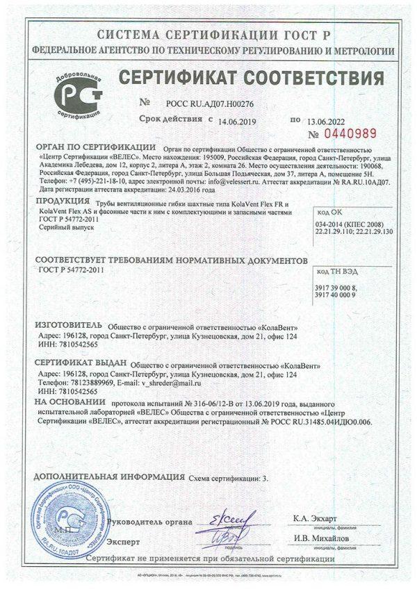 Сертификат 19-22-s Колавент